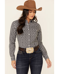 Rough Stock By Panhandle Women's Black Jacquard Long Sleeve Snap Western Shirt , Black, hi-res