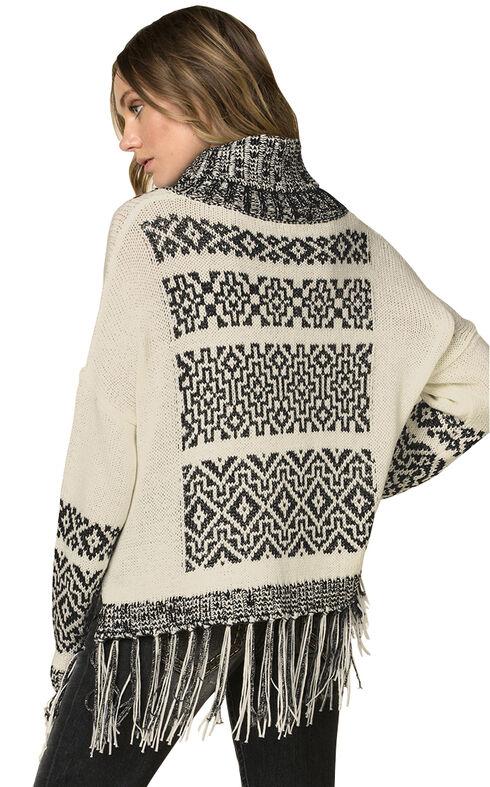Miss Me Women's Fringe Trimmed Turtleneck Sweater, Beige, hi-res