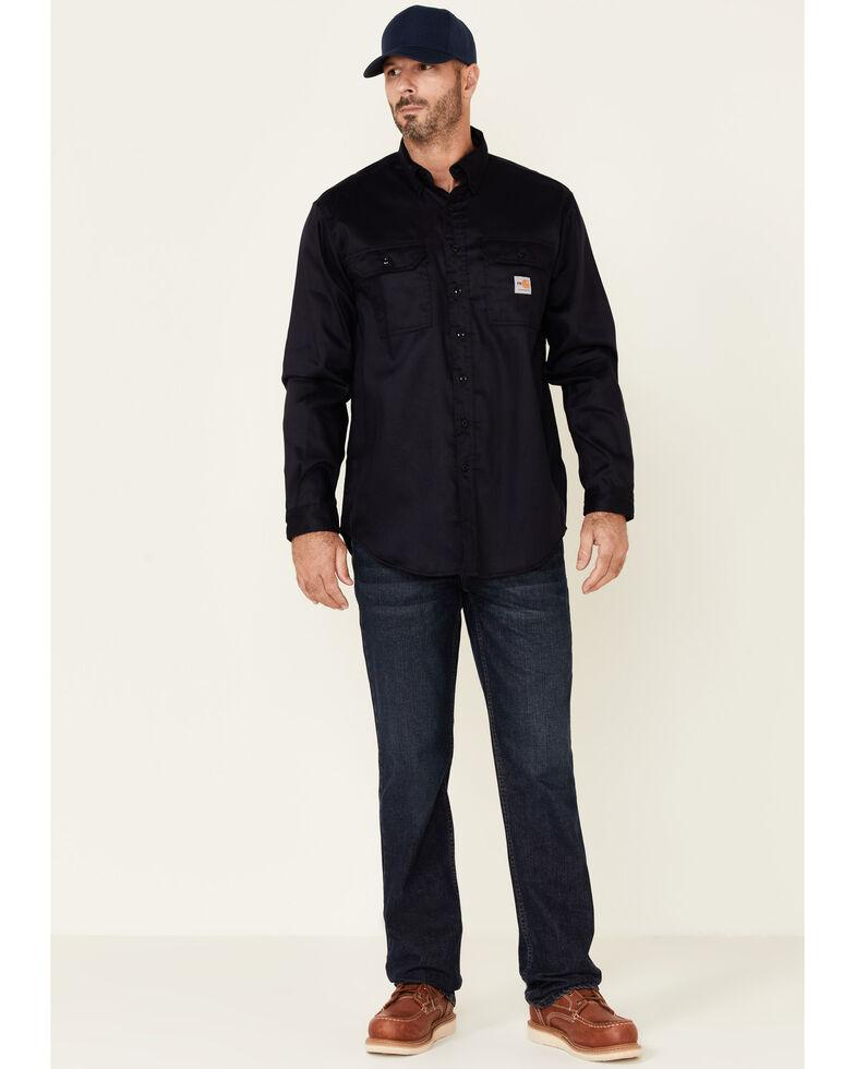 Carhartt Men's Flame Resistant Dry Twill Long Sleeve Work Shirt, Navy, hi-res