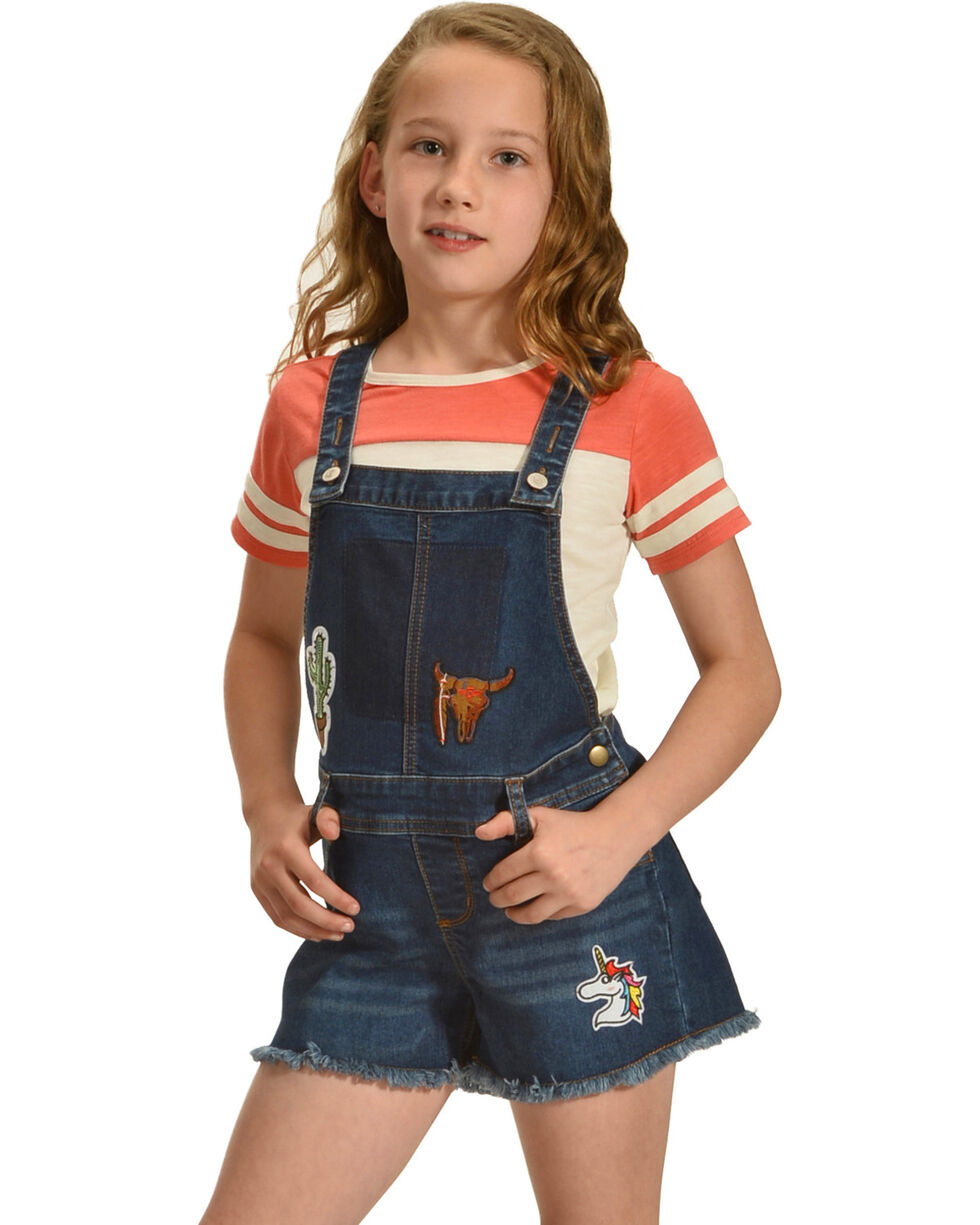 Shyanne Girls' Patch Denim Overalls, Blue, hi-res