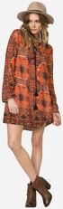 Miss Me Women's Rust Long Sleeve Printed Tie-Front Swing Dress , Rust, hi-res