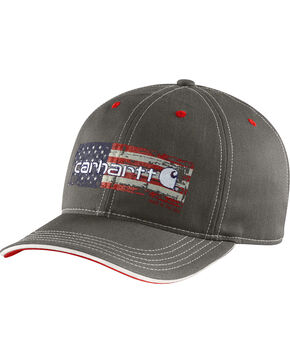 Carhartt Men's Distressed Flag Graphic Cap, Black, hi-res