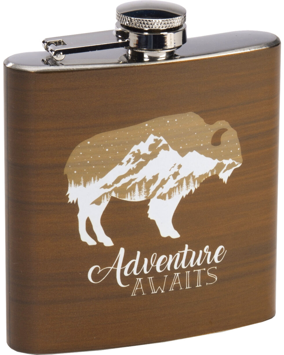 BB Ranch Buffalo Adventure Awaits Flask, Brown, hi-res
