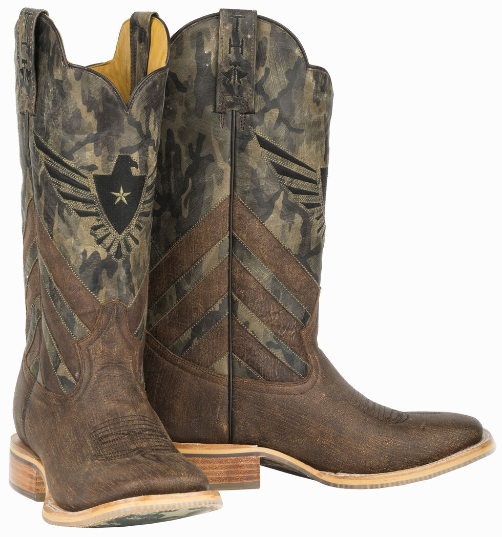 Tin Haul Sergeant at Arms Screaming Eagle Cowboy Boots - Wide Square Toe , Brown, hi-res