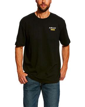Ariat Men's Black Rebar Cotton Strong Short Sleeve Logo Crew Work T-Shirt , Black, hi-res