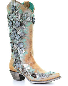 90cc0e8a50 Corral Womens Sand Floral Overlay Embroidered Stud and Crystals Cowgirl  Boots - Snip Toe , Sand
