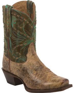 Tony Lama Brown Lava 100% Vaquero Cowgirl Booties - Square Toe, Brown, hi-res