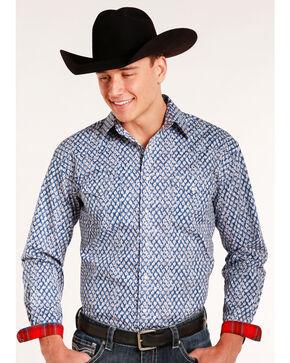 Rough Stock by Panhandle Men's Rowlet Vintage Print Long Sleeve Snap Shirt, Blue, hi-res