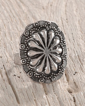 Shyanne Women's Floral Concho Ring, Silver, hi-res