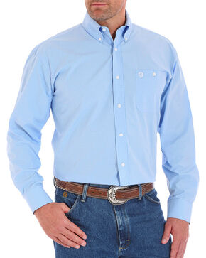 Wrangler Men's Blue George Strait Long Sleeve Checkered Shirt , Blue, hi-res