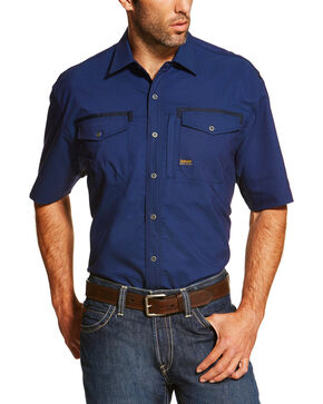 Ariat Men's Navy Rebar Short Sleeve Work Shirt , Navy, hi-res