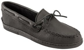 Minnetonka Men's Moosehide Classic Moccasins, Black, hi-res