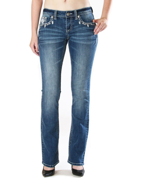 Grace in LA Women's Embroidered Flap Pocket Jeans - Boot Cut , Medium Blue, hi-res