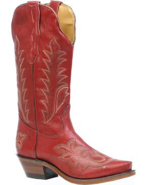 Boulet Deerlite Cowgirl Boots - Snip Toe, Red, hi-res