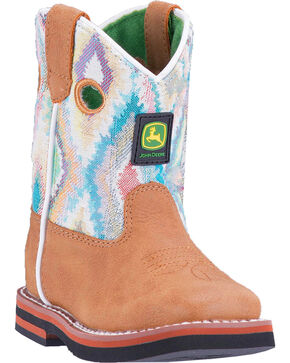 John Deere Toddler Girls' Printed Upper Boots - Broad Square Toe , Tan, hi-res