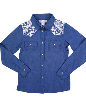 Shyanne Girls' Denim and Aztec Long Sleeve Shirt, Blue, hi-res