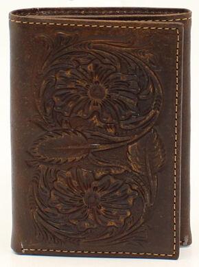 Ariat Floral Embossed Tri-Fold Wallet, Brown, hi-res