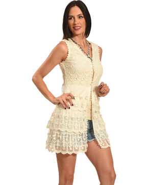 Young Essence Women's Sleeveless Lace Cardigan, Beige/khaki, hi-res