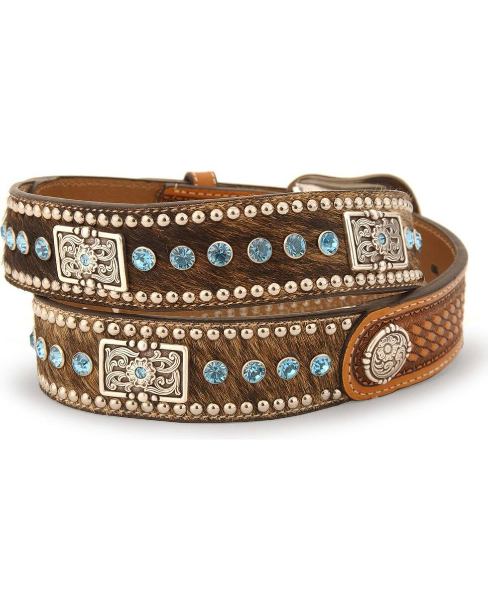 Nocona Calf Hair-On-Hide Leather Belt - Reg & Big, Natural, hi-res