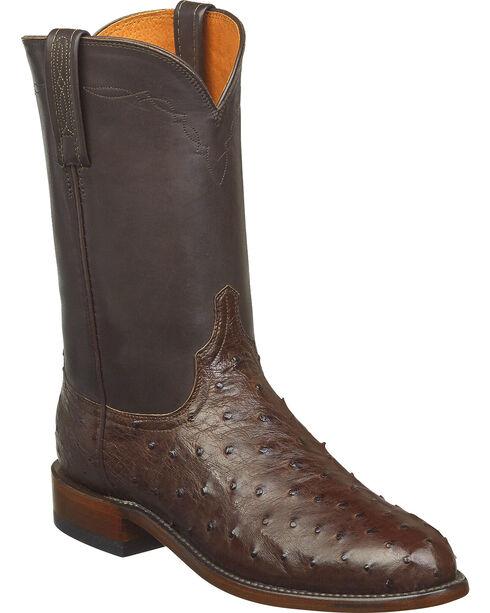 Lucchese Men's Handmade Zane Full Quill Ostrich Roper Boots - Round Toe, Dark Brown, hi-res