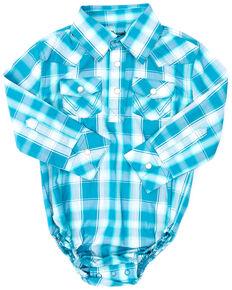 Wrangler Infant Boys' Teal Plaid Long Sleeve Snap Western Onesie , Teal, hi-res