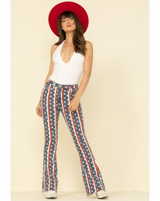 Rock & Roll Denim Women's Star & Stripe Flare Jeans , Multi, hi-res