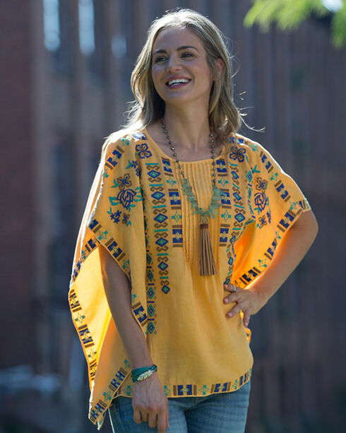 Ryan Michael Gold Embroidered Poncho Shirt, Gold, hi-res