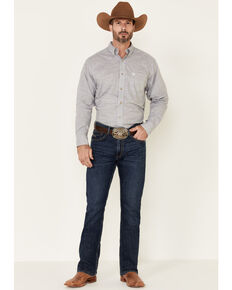 Ariat Men's Grey Solid Slub Long Sleeve Western Shirt , Grey, hi-res