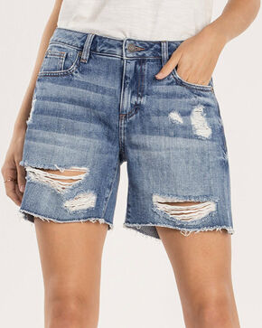 Miss Me Women's Break The Rules Mid-Rise Shorts , Indigo, hi-res