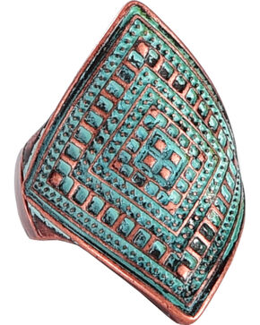 Shyanne Women's Western Pattern Ring, Turquoise, hi-res