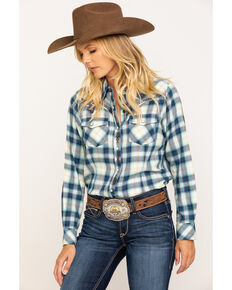 Ariat Women's Navy Plaid R.E.A.L. Snap Long Sleeve Western Shirt , Navy, hi-res