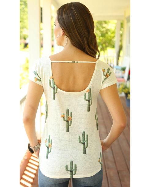 Wrangler Women's Short Sleeve Cut Out Back Cactus Print Top, Cream, hi-res