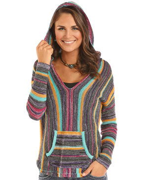 Rock & Roll Cowgirl Women's Bright Serape Lightweight Sweater, Multi, hi-res
