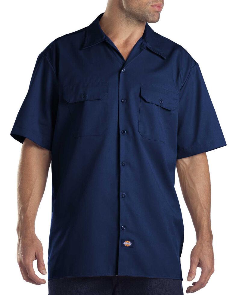 Dickies Short Sleeve Twill Work Shirt - Big & Tall-Folded, Navy, hi-res