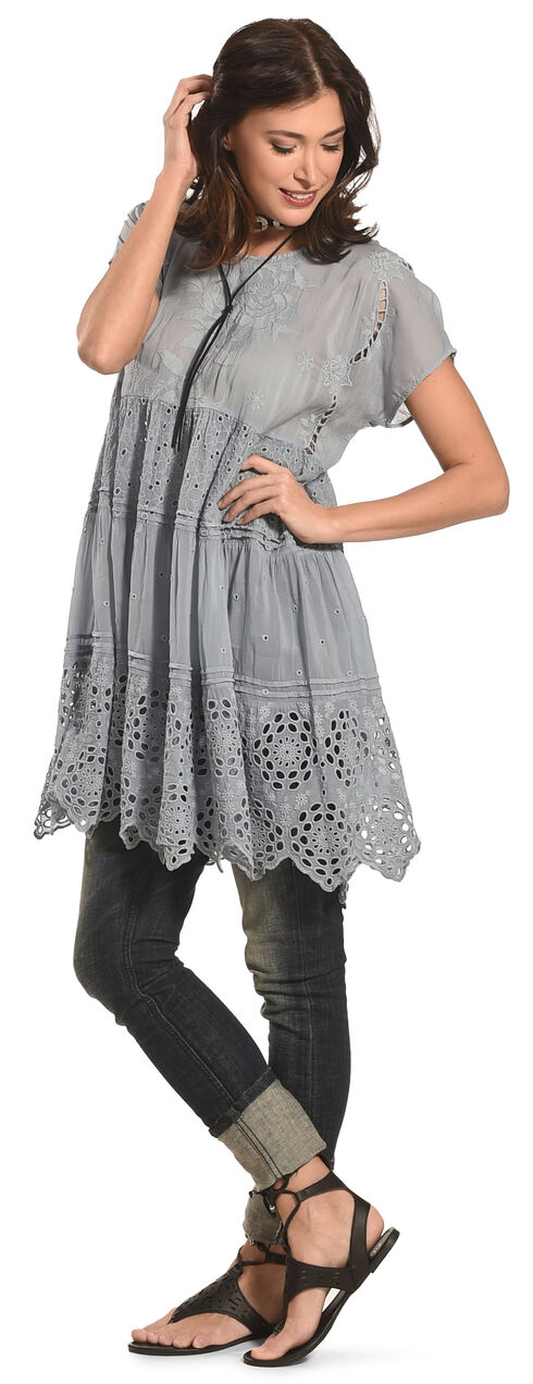 Johnny Was Women's Grey Arva Tiered Tunic , Grey, hi-res