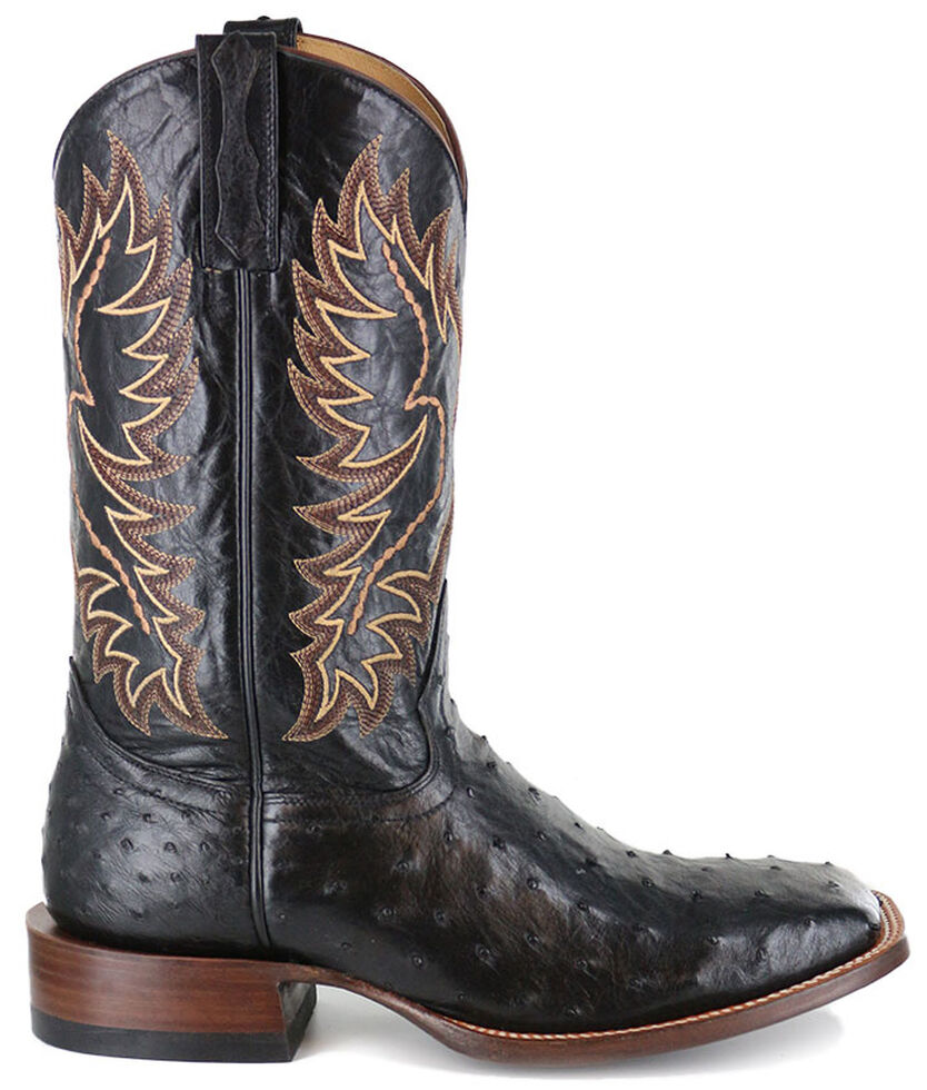 Cody James Men's Full Quill Ostrich Exotic Boots - Wide Square Toe , Black, hi-res