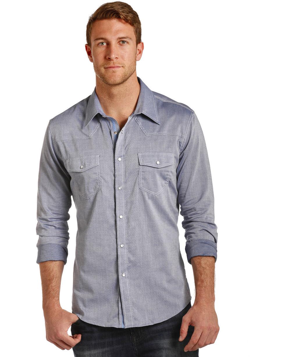 Rock & Roll Cowboy Men's Allover Dobby Print Shirt , Light/pastel Blue, hi-res