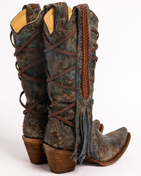 Corral Women's Braided Fringe Cowgirl Boots - Snip Toe, Blue, hi-res