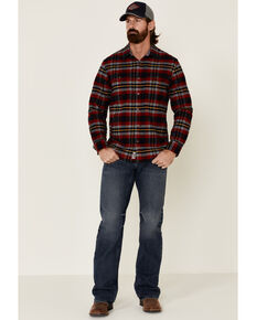 Flag & Anthem Men's Ames Stretch Plaid Long Sleeve Western Flannel Shirt , Red, hi-res