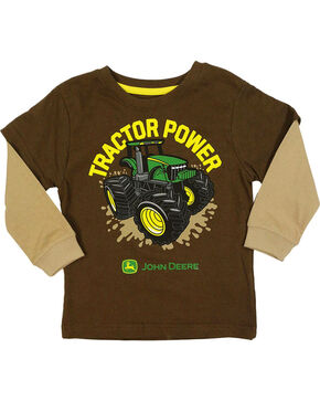 John Deere Toddler Boys' Brown Tractor Power T-Shirt , Brown, hi-res