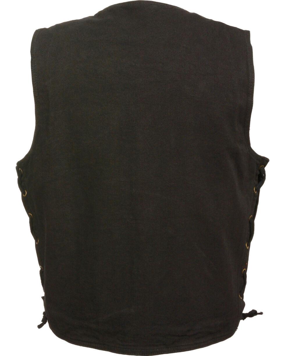 Milwaukee Leather Men's Side Lace Denim Vest w/ Chest Pockets - Big - 5X, , hi-res
