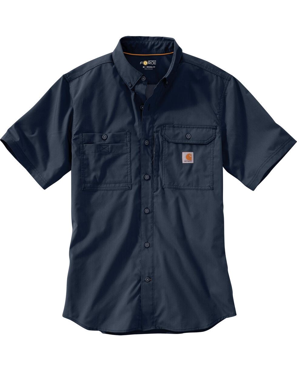 Carhartt Men's Navy Force Ridgefield Short Sleeve Shirt - Big, , hi-res