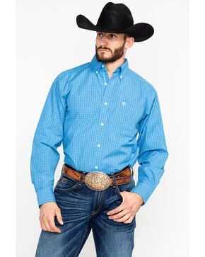 Ariat Men's Azure Ableman Plaid Long Sleeve Western Shirt, Blue, hi-res