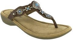 Minnetonka Women's Boca Thong III Sandals, Dark Brown, hi-res