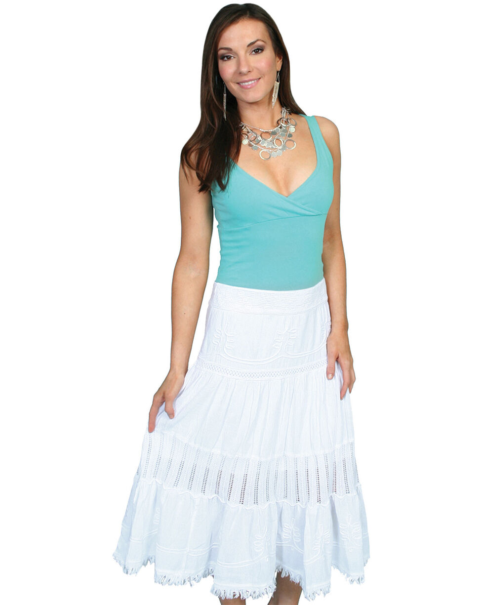 Scully Crocheted Panel Skirt, White, hi-res