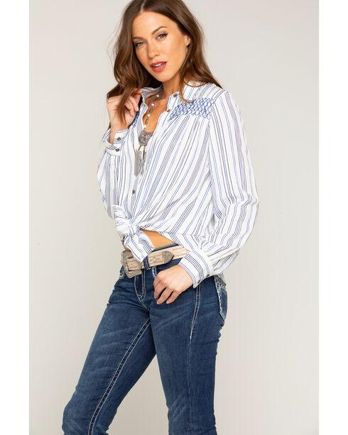 Shyanne Women's Striped Tie-Front Shirt, Ivory, hi-res
