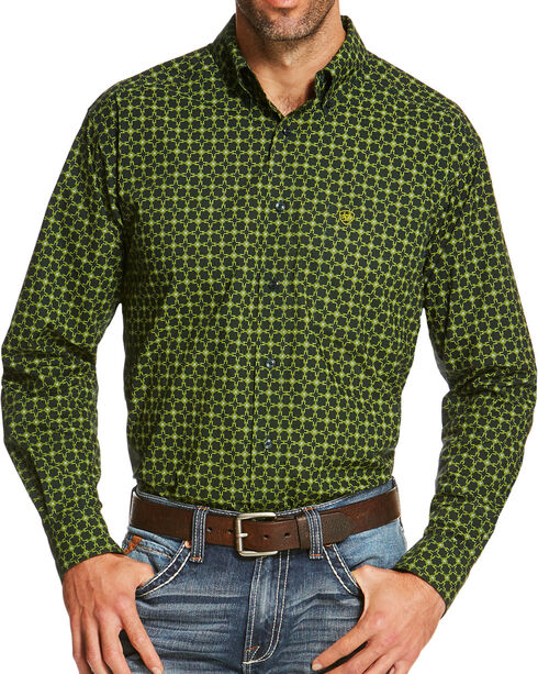 Ariat Men's Green Sherman Print Long Sleeve Shirt , Green, hi-res