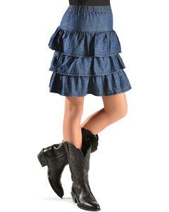 Red Ranch Girls' Tiered Denim Skirt, Denim, hi-res