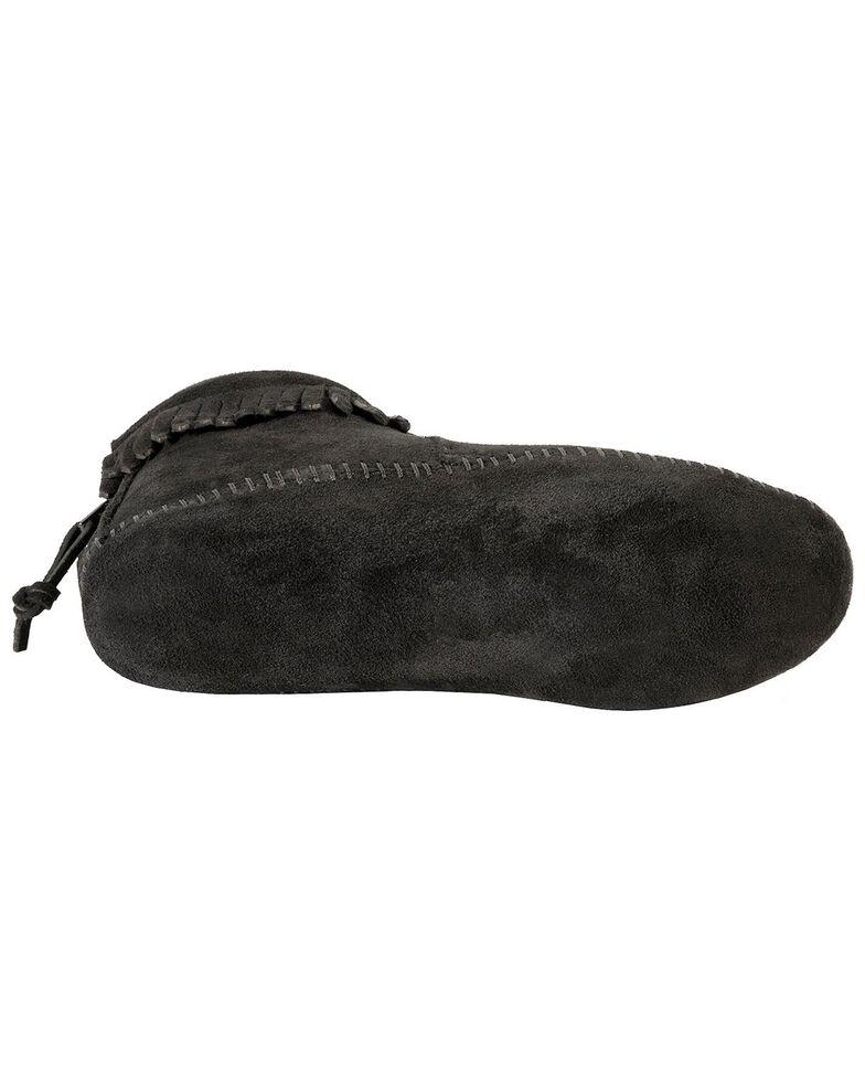 Minnetonka Soft Sole Back-Zip Moccasins, Black, hi-res