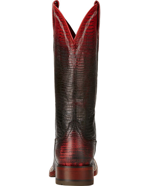 Ariat Red Ombre Lizard Print Cowgirl Boots - Square Toe, , hi-res